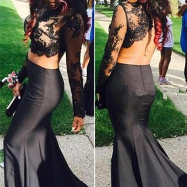 Sexy Black Long Sleeves Prom Dresses,Lace Prom Dress,Mermaid Prom Dresses,Open Back Two Pieces Prom Dress For Teens,Sexy Prom Gowns