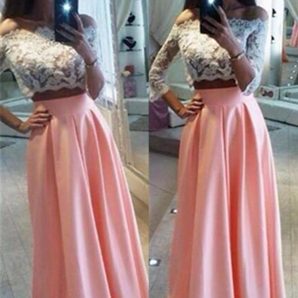 Blush Pink Prom Dresses,3/4 Sleeves Lace Prom Dress,Pretty Girly A-line Prom Gowns,Handmade Simple Prom Dress For Teens,Two Pieces Party Dresses