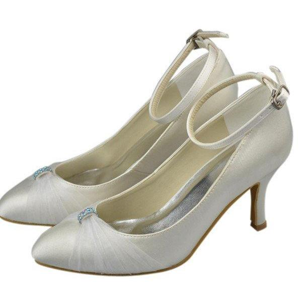 Ankle Strap Satin Women Shoes,Prom Shoes,Ivory High Heel Shoes,Simple Cheap Shoes