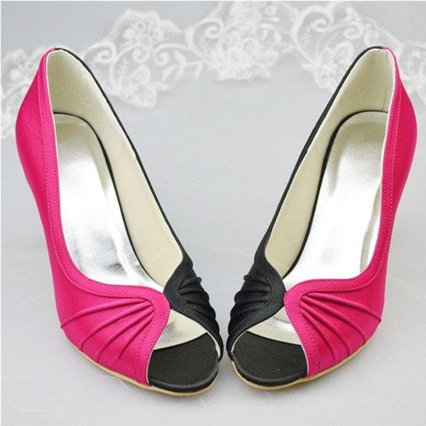 Beautiful Simple Satin Shoes,Handmade Prom Shoes,Peep Toe Party Shoes,Women Shoes