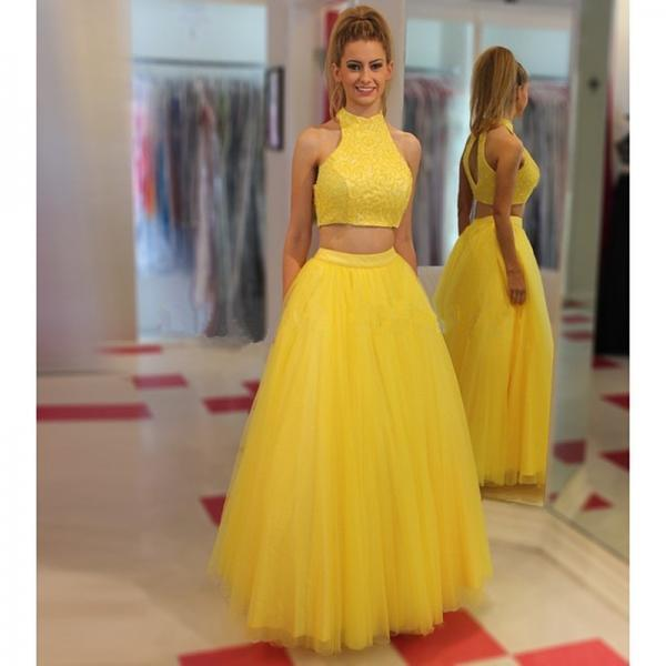 Yellow Tulle Long Prom Dresses,A-line Wedding Party Dresses,Two Pieces Prom Gowns,O-neckline Prom Dress,Women Dresses