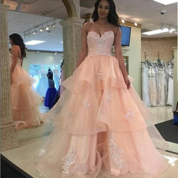 Pretty Pink Lace Prom Dresses,Girly Prom Gowns,Quinceanera Dresses,Prom Dresses For Teens,Long Prom Dress,Party Dresses