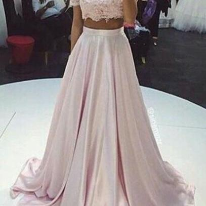 Pink Long Prom Dresses,Prom Dresses For Teens,Short Sleeves A-line Prom Gowns,Cute Dresses,Girly Party Dresses