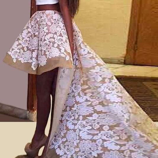 Lovely Two Pieces Prom Dresses With Train,Lace Prom Gowns,Women Dresses,Prom Dresses For Teens,Party Dresses